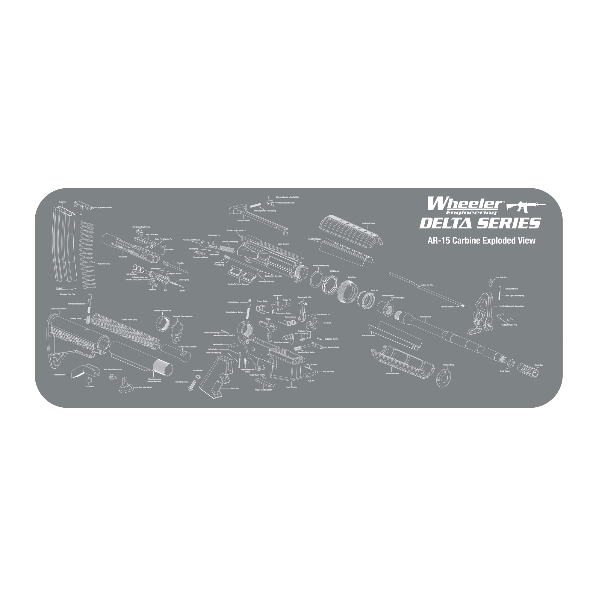 """The Wheeler Delta Series AR-15 Maintenance Mat is perfect for any AR-15 owner. It features a screen printed expanded view of an AR-15 Carbine to easily identify the parts of your rifle. The Mat is made of a dark gray non-marring padded neoprene material with a durable non-skid rubber backing to protect firearm finishes while helping to keep track of small parts. Excess oils and solvents are absorbed into the mat"""" keeping the surface clean and dry. Each mat is machine or hand washable with mild detergent and water"""" and can be rolled up to easily fit in your range bag."""
