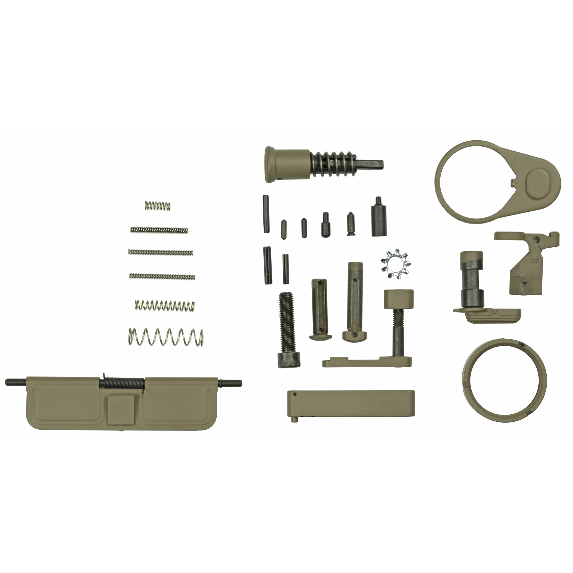 """The color coated parts included are: Ejection Port Cover Door"""" Forward Assist"""" Castle Nut"""" Receiver End Plate"""" Bolt Catch"""" Mag Lever"""" Mag Button"""" Pivot Pin"""" Takedown Pin"""" Trigger Guard"""" Buffer Retainer. Also includes the pins and spring kit for the Lower Controls. *(Does not include any trigger components)."""