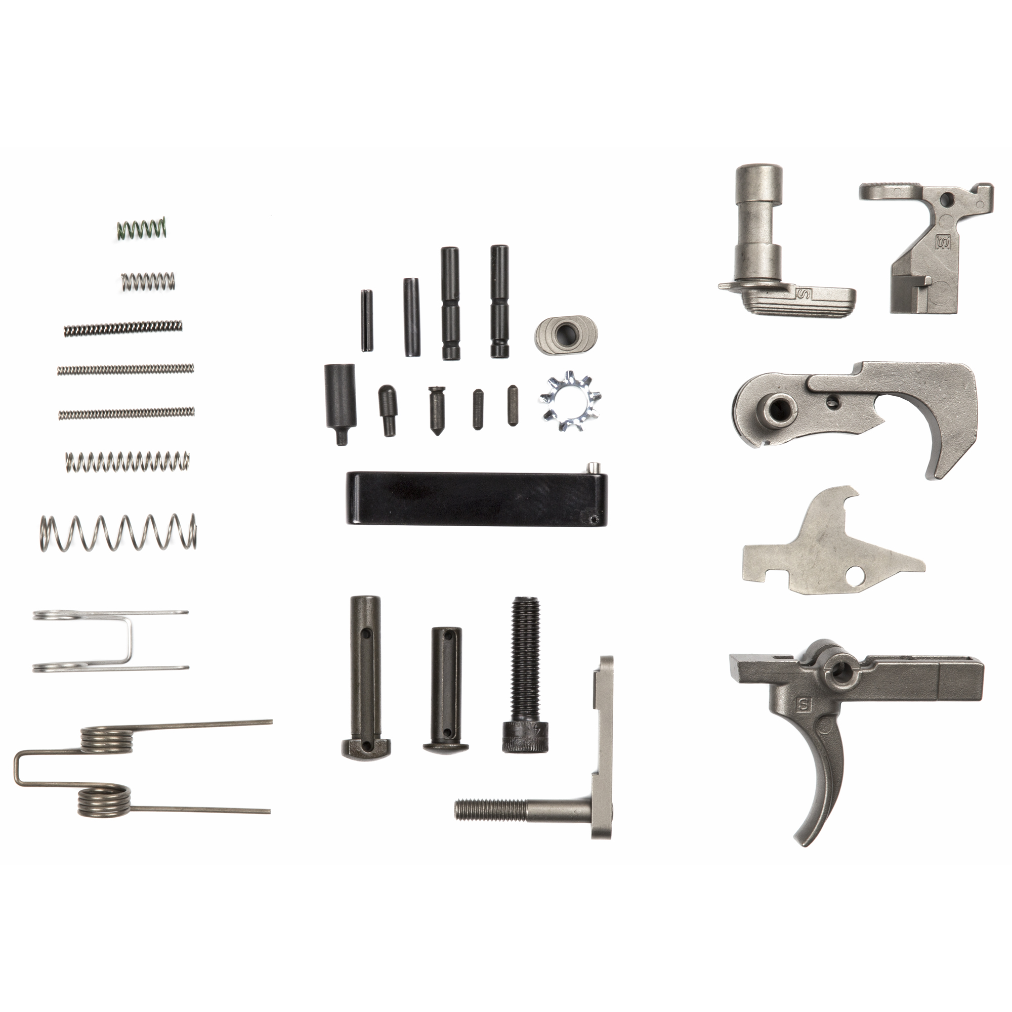"""Lower Parts Kit with NiB-X hammer"""" trigger"""" disconnect"""" bolt catch"""" mag catch"""" mag catch button"""" and safety selector. Kit includes Front Pivot Pin"""" Rear Takedown Pin"""" Trigger Guard Assembly and all necessary pins"""" detents and springs."""