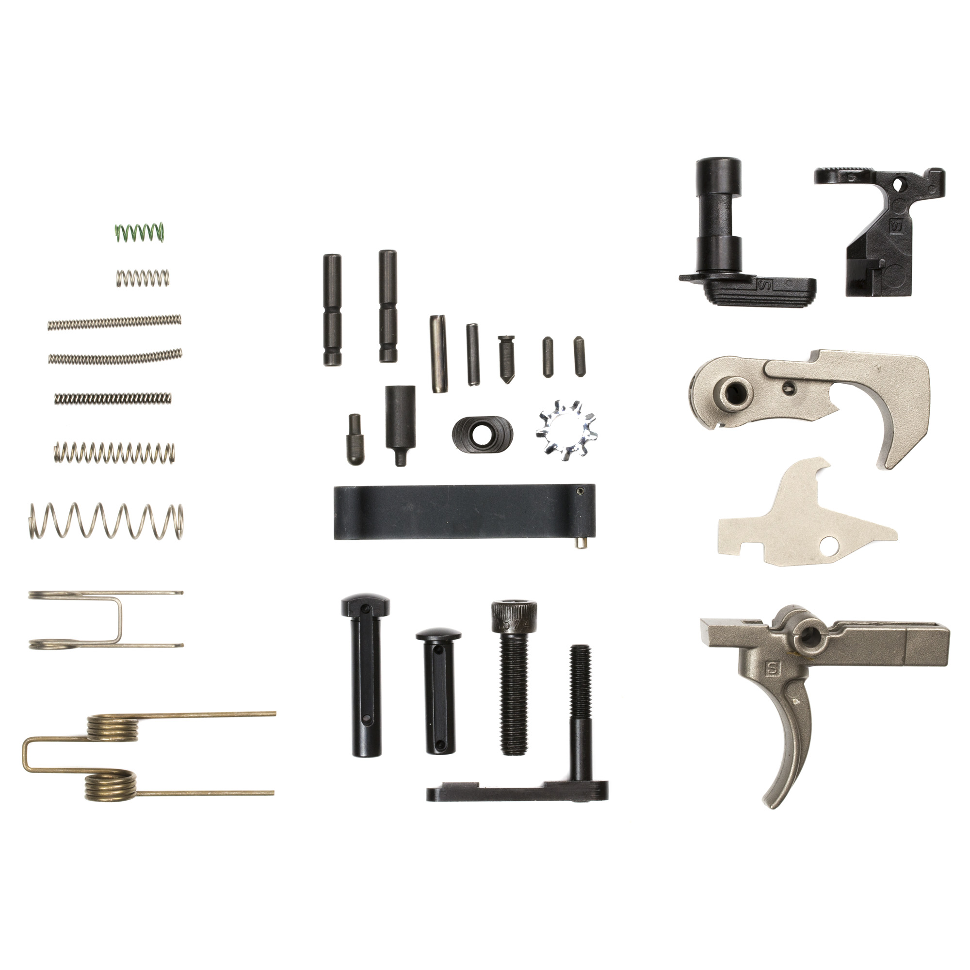 """AR-15 Lower Parts Kit with Nib-X coated Hammer"""" Trigger and Disconnect"""" Nitromet coated Bolt Catch"""" Mag Catch"""" Mag Catch Button"""" Safety Selector"""" Front Pivot Pin and Rear Takedown Pin."""