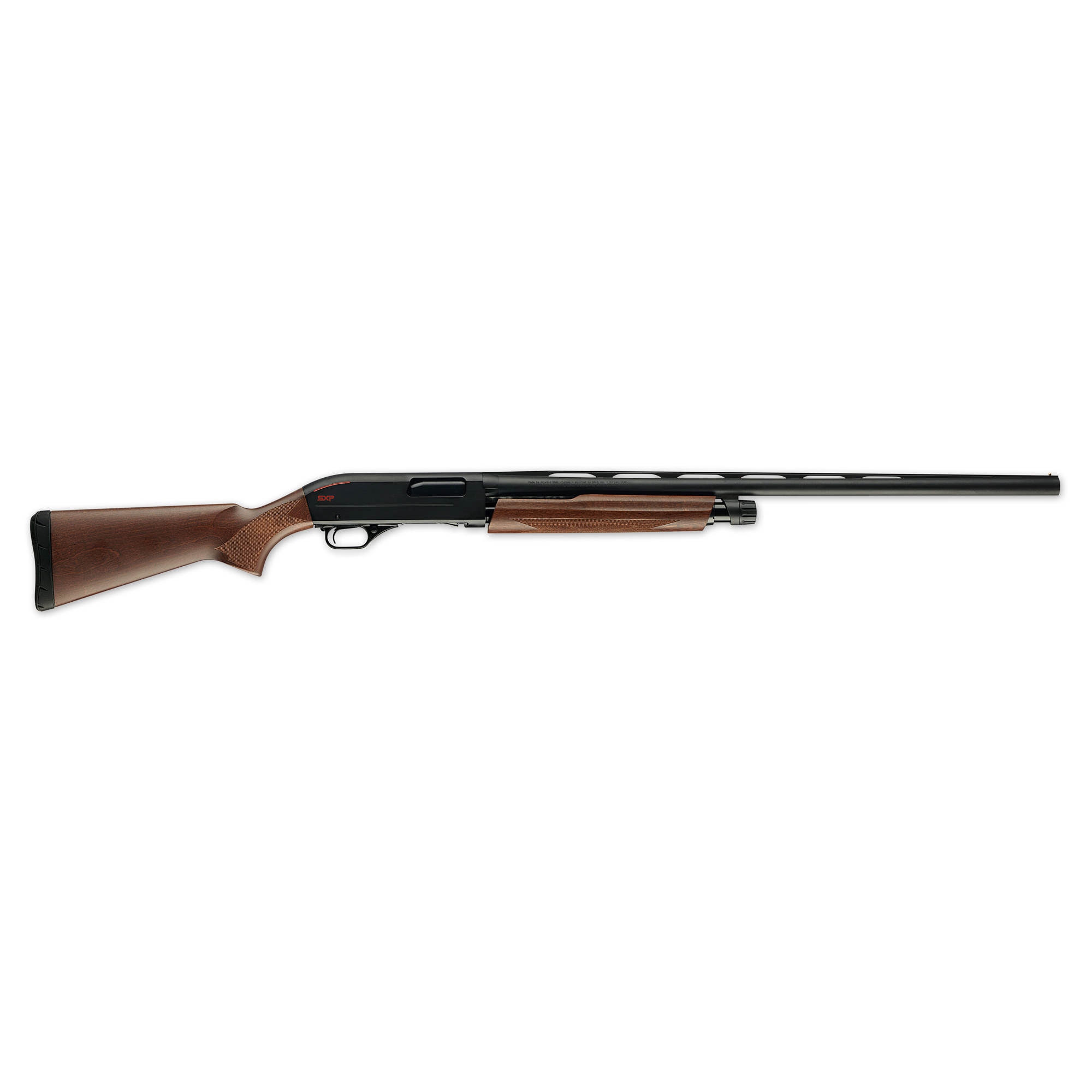 """Pick up the new Winchester(R) SXP shotgun and experience the light weight"""" centered balance and instant pointability firsthand. The Super X design provides you with the fastest follow-up shots. No other pump offers the feeling of an inertia-assisted slide-action that can deliver three shots in a half second."""