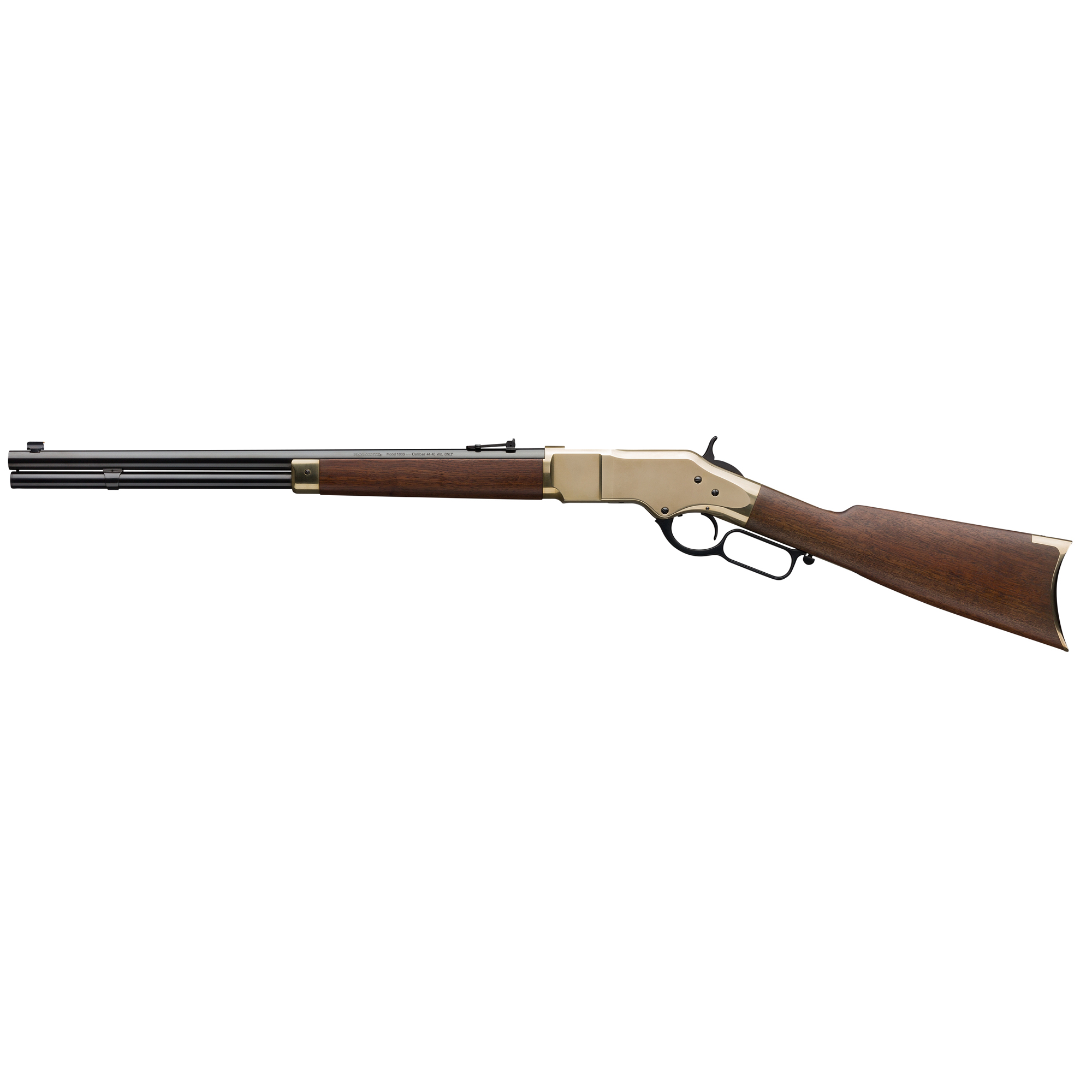 """The Model 1866 lever-action was the very first rifle to wear the Winchester(R) brand. Its bright brass receiver was the basis for the nickname of """"Yellow Boy."""" This legendary rifle is now available from Winchester(R) Repeating Arms in a new Grade I Short Rifle. This makes the """"Yellow Boy"""" experience readily attainable for cowboy action competitors"""" hunters"""" casual shooters and everyone who enjoys spending a day at the range with a genuine Winchester lever-action classic."""