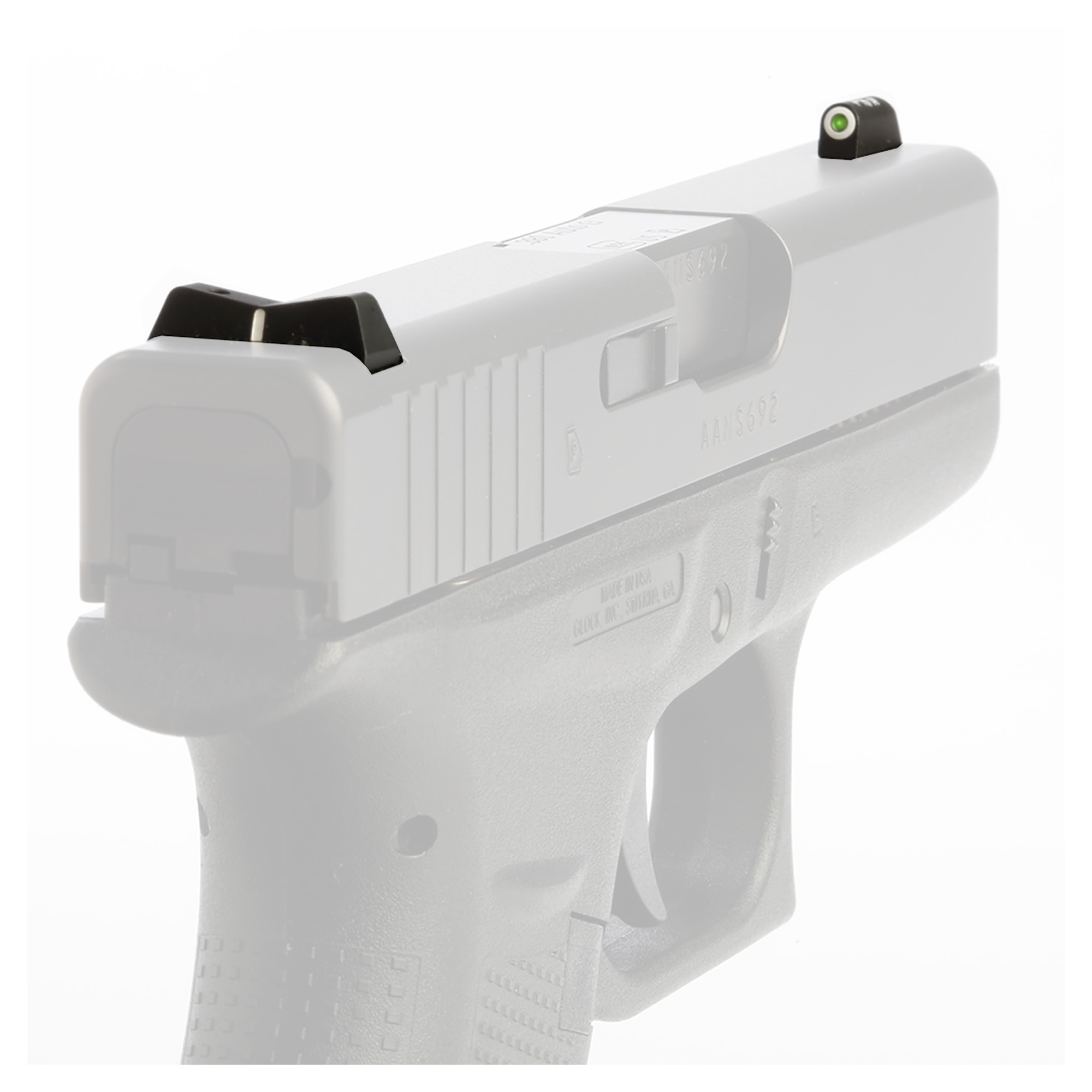 "The XS DXW Big Dot night sight is a superior defensive sight set. Fits Glock models 42 & 43. Precision machined in Fort Worth"" TX"" XS Sights feature a Big Dot Tritium front sight and express rear sight with a white stripe for fast sight acquisition in all light conditions. Big Dot demands your attention - even in high stress and for those with poor eyesight"" aids in rapidly achieving combat effective hits. White dot reflects ambient light for best visibility in low light. Shallow V-Notch rear provides an unobstructed view of the front sight"" along with a greater field of view down range"" especially when moving and shooting. Day-Light"" Half-Light"" or Low-Light"" just ""dot the i"" and center the dot over your target within 15 yards. Outside Diameter Big Dot 0.188""; fits in common holsters. Installation might require filing to fit sight to dovetail"" do not use a sight press/pusher tool."