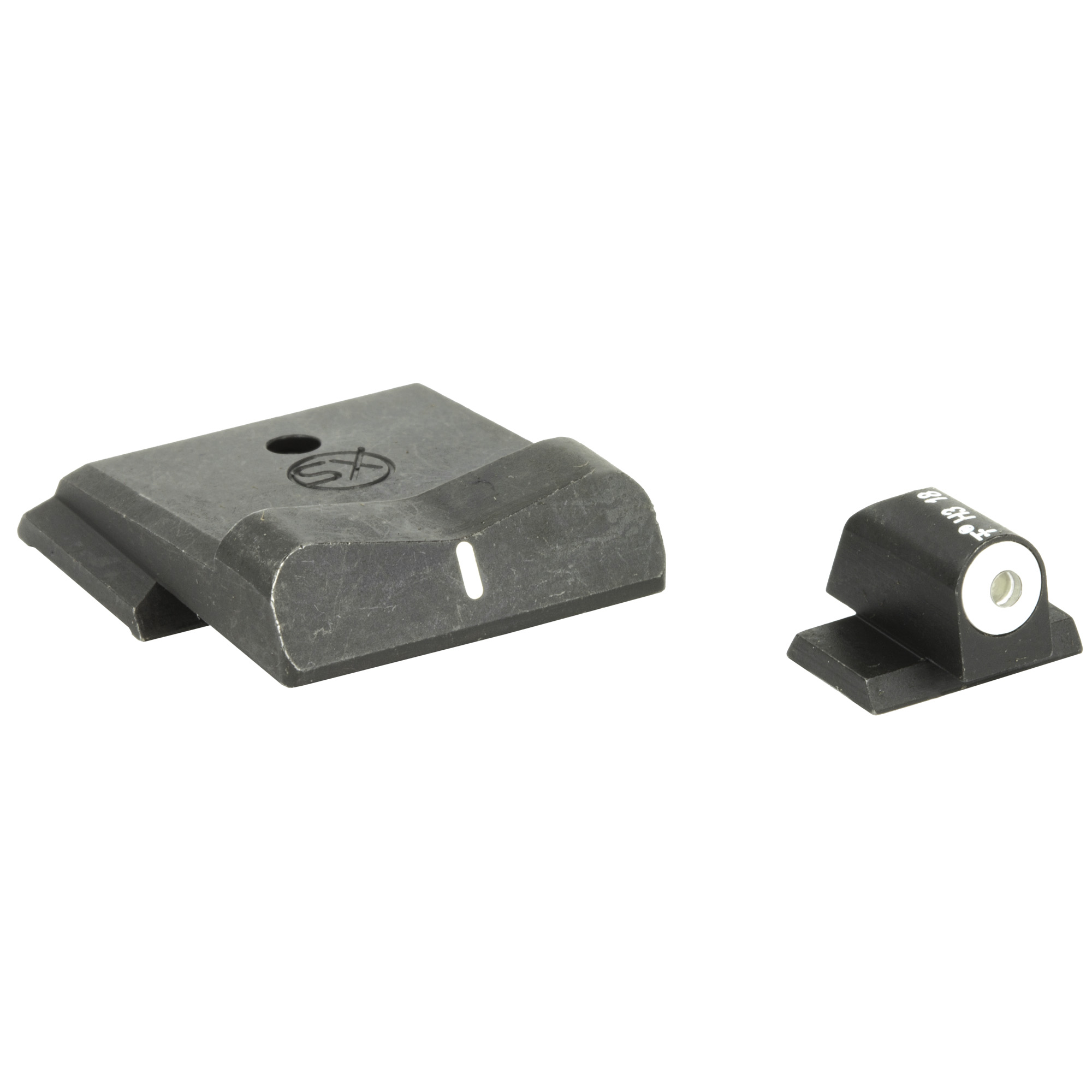 "The XS DXW Big Dot night sight is a superior defensive sight set. Fits S&W M&P"" M&P M2.0"" M&P Compact"" & M&P M2.0 Compact; 9mm"" 40S&W"" & 45ACP. Precision machined in Fort Worth"" TX"" XS Sights feature a Big Dot Tritium front sight and express rear sight with a white stripe for fast sight acquisition in all light conditions. Big Dot demands your attention - even in high stress and for those with poor eyesight"" aids in rapidly achieving combat effective hits. White dot reflects ambient light for best visibility in low light. Shallow V-Notch rear provides an unobstructed view of the front sight"" along with a greater field of view down range"" especially when moving and shooting. Day-Light"" Half-Light"" or Low-Light"" just ""dot the i"" and center the dot over your target within 15 yards. Outside Diameter Big Dot 0.188""; fits in common holsters. Installation might require filing to fit sight to dovetail"" do not use a sight press/pusher tool."