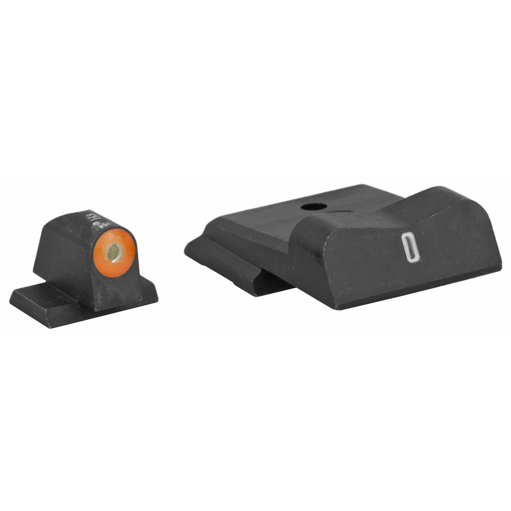 "XS DXT2 Big Dot Night Sights offer the best front sight visibility in all lighting conditions. DXT2 Big Dot sights drive focus to the front sight using a high-contrast front and a V-notch rear for an unobstructed view of the front sight. DXT2 Big Dot front sights use a patent pending glow dot that absorbs light and glows in low light levels before it is dark enough to see the tritium. Optic Orange is designed to offer a high-contrast sight picture when shooting in bright light conditions and maintain its visibility in decreasing light levels. To ensure visibility in low light when uncharged"" optic orange is primarily based on yellow with a hint of red. The increased surface area of the convex dot increases light absorption"" intensifying the charge of the glow properties of the dot. The dot-the ""i"" sight picture"" with a tritium dot in the front sight and a tritium bar in the rear"" prevents confusing the front and rear sight in high-stress situations. The wide field of view increases visibility of the front sight and of the threat downrange."