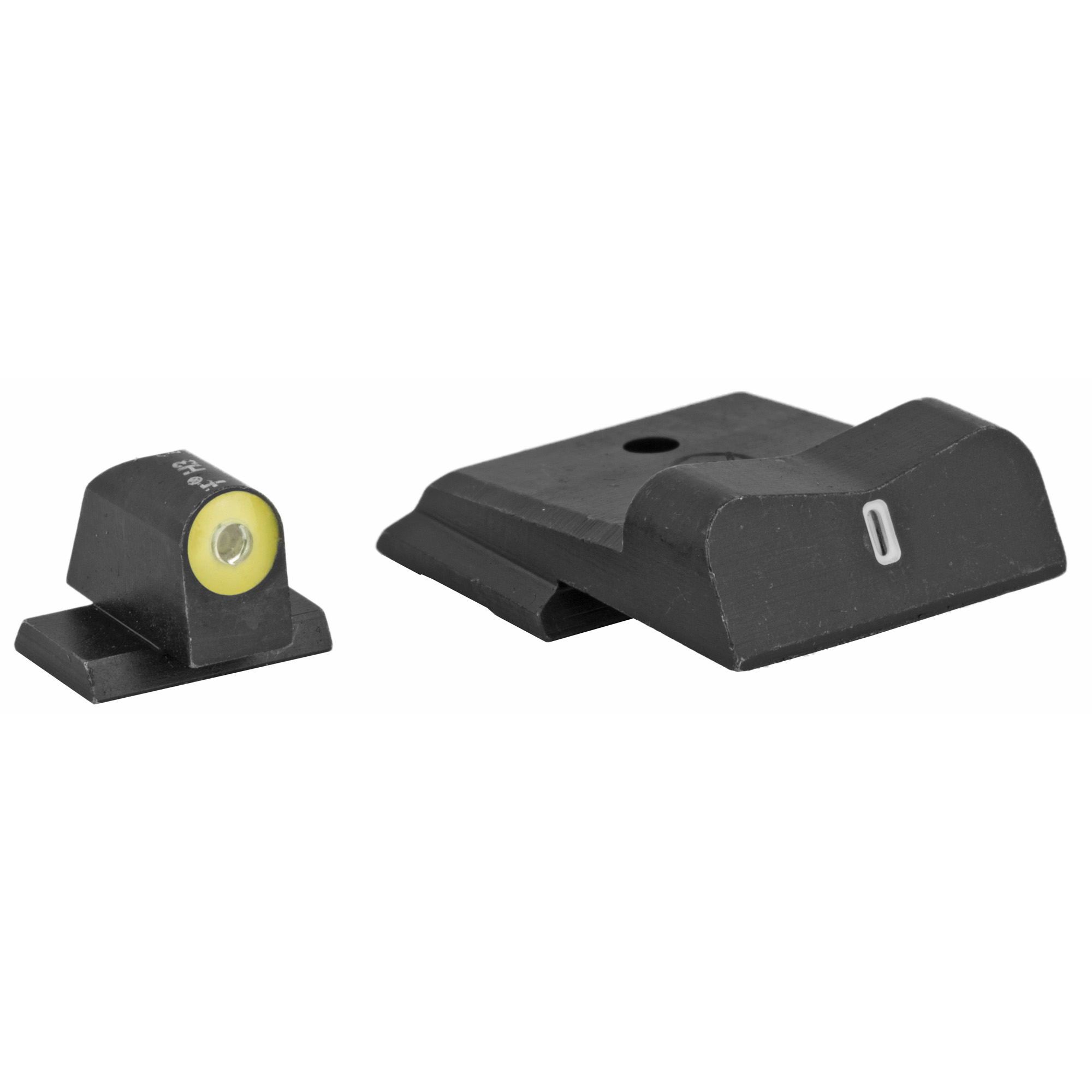 "XS DXT2 Big Dot Night Sights offer the best front sight visibility in all lighting conditions. DXT2 Big Dot sights drive focus to the front sight using a high-contrast front and a V-notch rear for an unobstructed view of the front sight. DXT2 Big Dot front sights use a patent pending glow dot that absorbs light and glows in low light levels before it is dark enough to see the tritium. Optic Yellow is the best option for low light and has the brightest glow intensity. Primarily based on the white light spectrum"" optic yellow is very reflective and will excite the photoluminescent properties of the dot faster than any other color. The increased surface area of the convex dot increases light absorption"" intensifying the charge of the glow properties of the dot. The dot-the ""i"" sight picture"" with a tritium dot in the front sight and a tritium bar in the rear"" prevents confusing the front and rear sight in high-stress situations. The wide field of view increases visibility of the front sight and of the threat downrange."