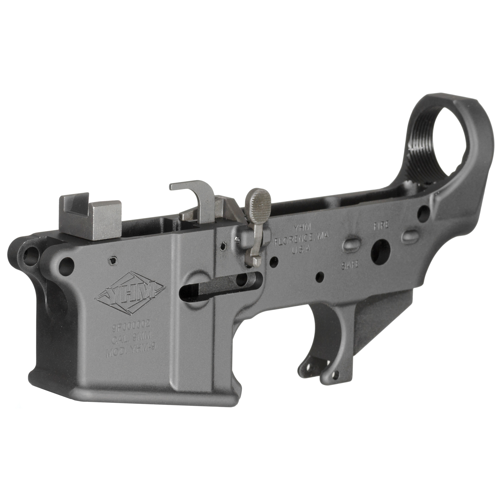 This semi-auto lower receiver lets you build a dedicated 9mm AR. The magazine well is machined to accept Colt style 9mm magazines and this eliminates the need for a separate conversion block and the reliability problems that can result from converting a standard .223/5.56mm lower with add-on parts.
