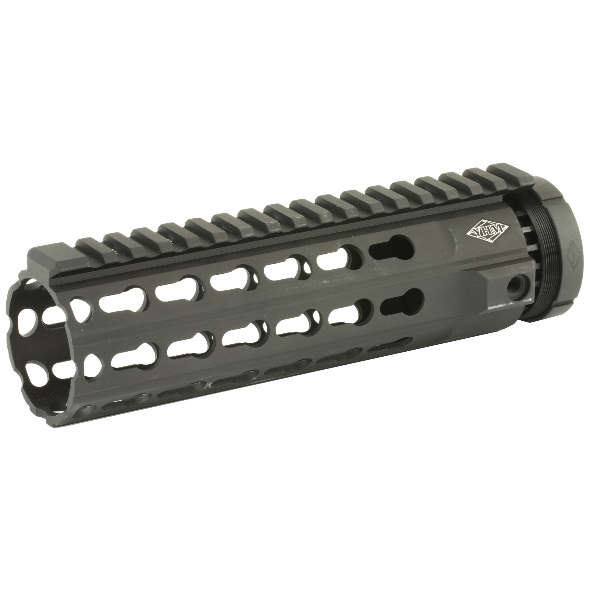 """YHM is proud to introduce The KR7 series of handguards. The KeyMod handguard has taken the AR industry by storm because of its simplistic accessory mounting"""" and light weight. The KR7 is one of their lightest handguards to date"""" but you can still add accessories along the entire handguard length"""" even at every 45 degree position. Note: This handguard features a """"T"""" marked extended top rail."""
