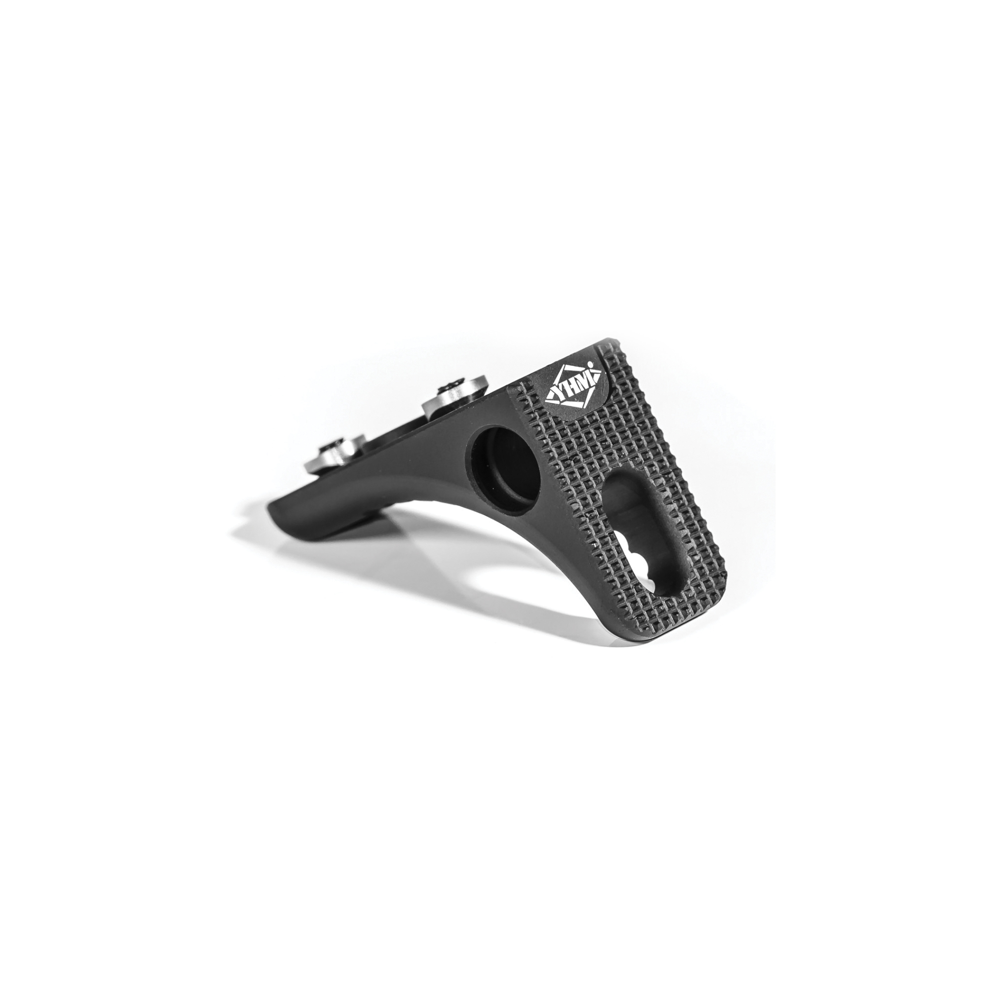 YHM's Keymod Hand Stop / Barrier Stop easily mounts on Keymod rails including YHM KR7 and S.L.K. series to provide excellent weapon control. The textured front side is for superior traction on barriers and obstacles. The unit allows the use of a Q.D. Sling Swivel (YHM-9466) from either side. Also allows the use of Clip or Safety Lock Slings on the front slot. Made from hardcoat anodized 6061-T6 aluminum. Includes all mounting hardware and wrench.