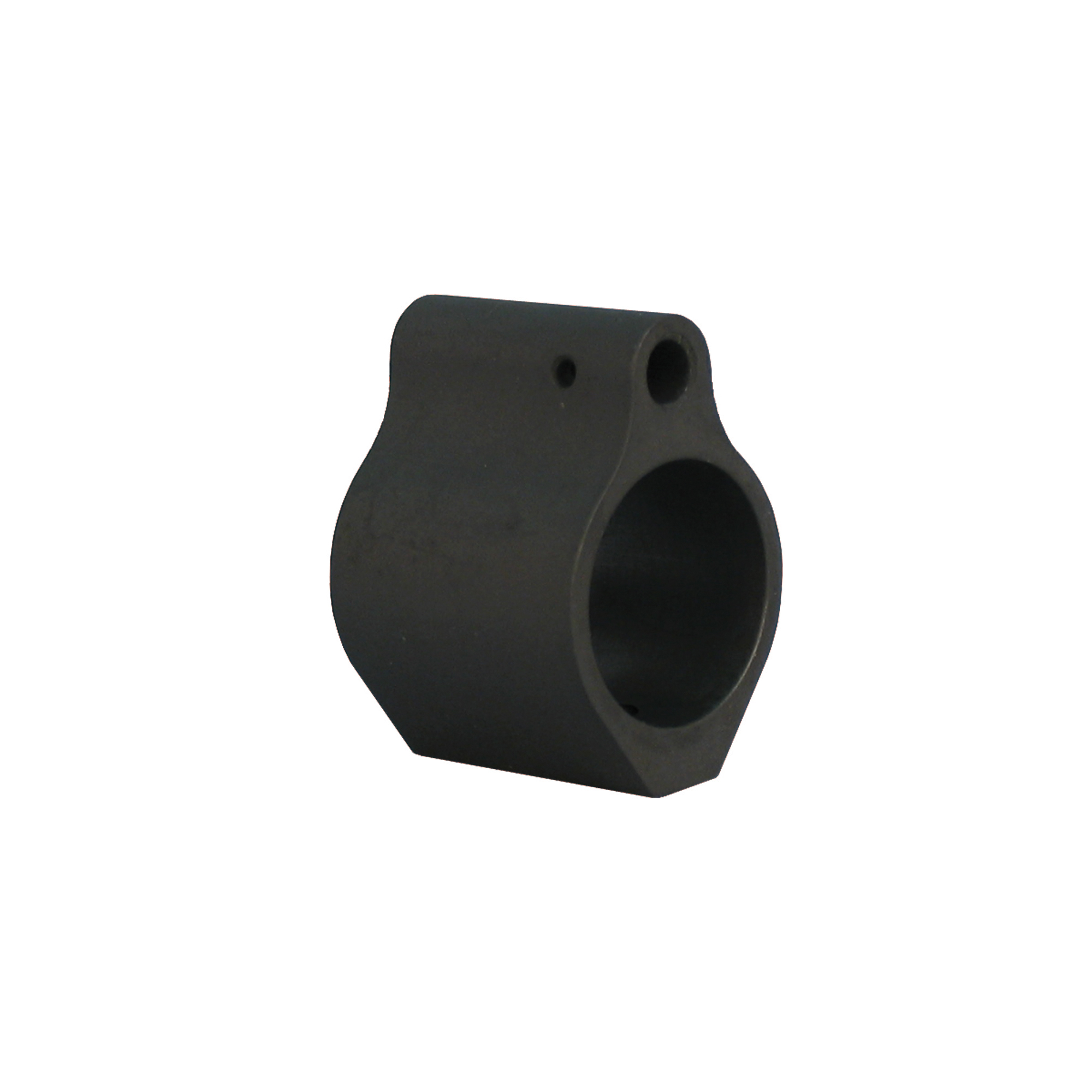 """This gas block replaces your existing front sight to provide a simple"""" low profile design that can be used to mount a rifle length forearm to a carbine length barrel. It is mounted by the use of two set screws."""