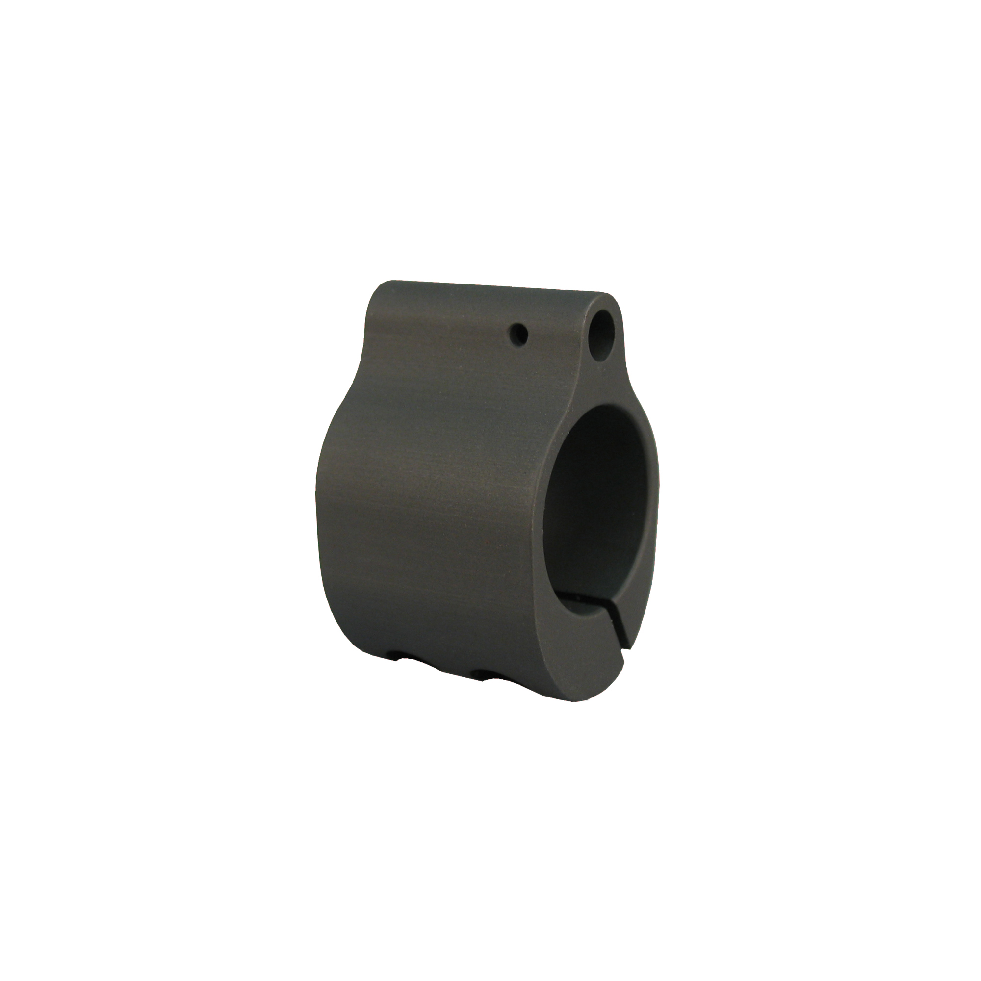 """This gas block replaces your existing front sight to provide a simple"""" low profile design that can be used to mount a rifle length forearm to a carbine length barrel. It is mounted by the use of two clamping screws."""