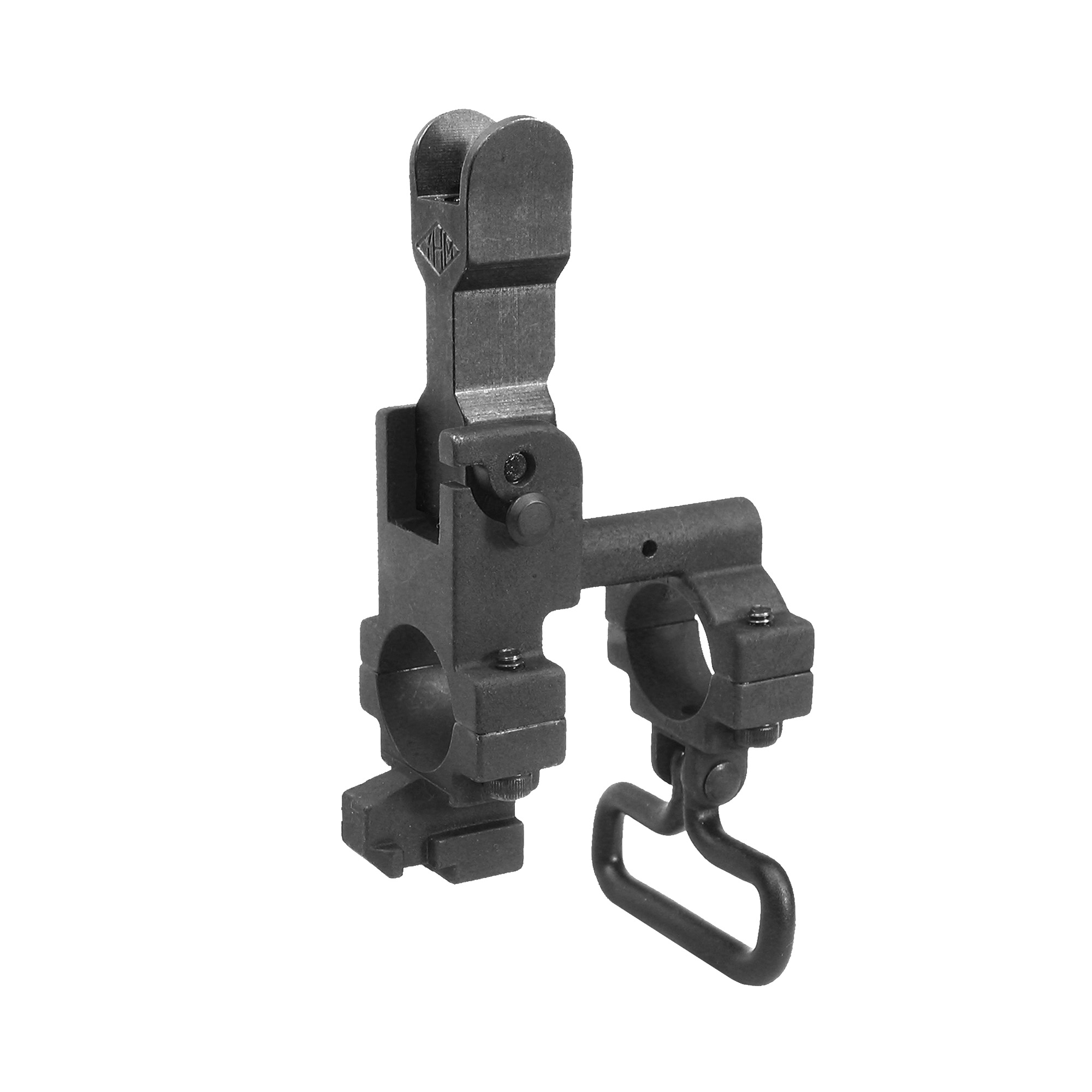 AR-15 Front Flip Sight Tower- These front sights feature either a round hooded front sight guard that allows for fast and accurate sighting or a standard style front sight guard. They sight base features all steel construction for superior strength in demanding conditions. The flip sight is easily concealed with the push of a button. It flips up and locks in the deployed position. This sight accepts all standard AR sight posts and hardware (Included). With this setup you get the convenience of a flip front sight with the same weight as a standard AR sight tower. This sight's two-piece design allows it to be mounted on firearms with pinned and welded muzzle accessories