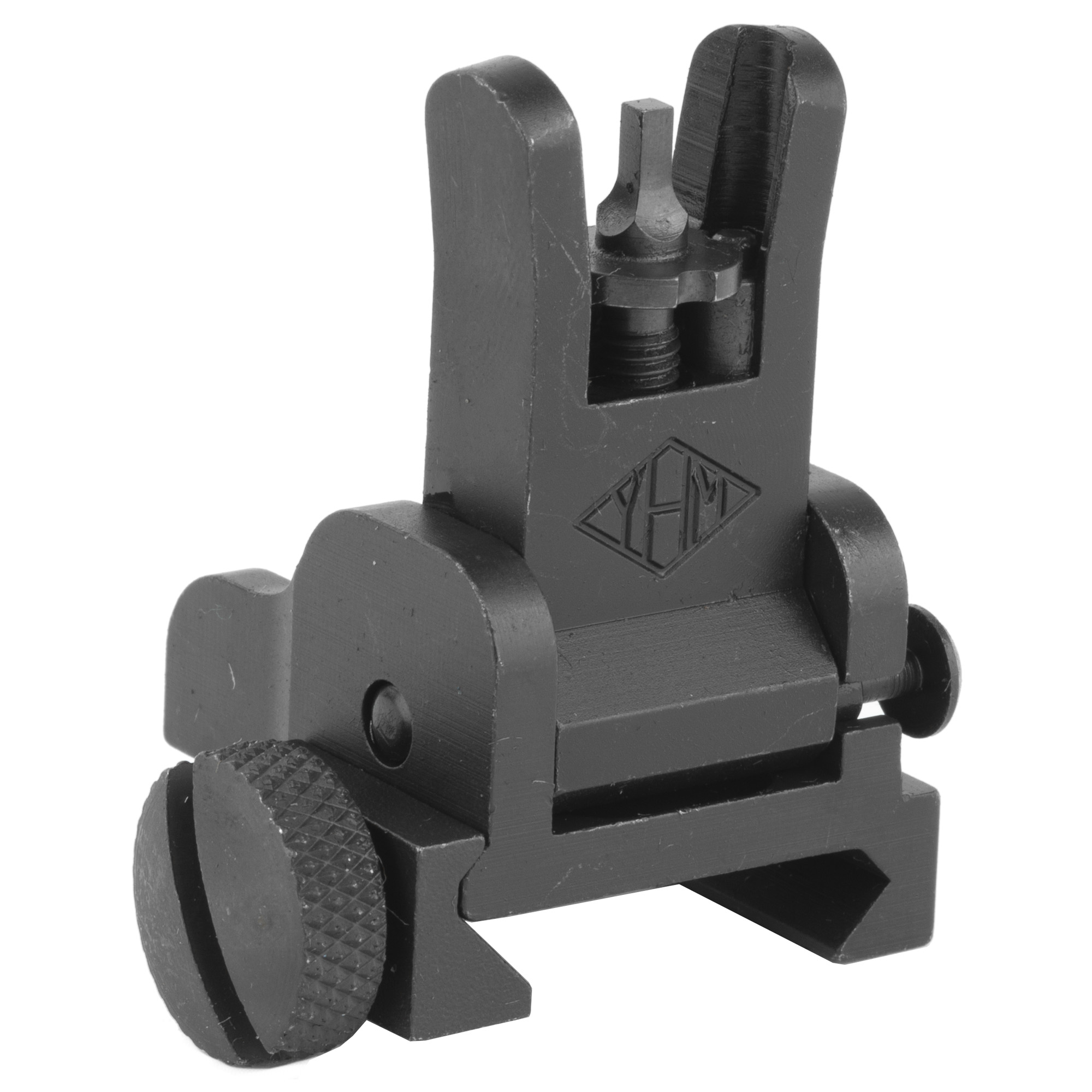 """AR-15 Same Plane Flip Front Sight- This durable"""" all steel sight mounts on the same plane as the rear sight to give you a backup iron sight. The sight folds out of the sight line with the push of a button and flips and locks in the deployed position with ease. Mounts quickly and easily with the included thumb screw. Accepts all standard AR sight posts and hardware (included)."""