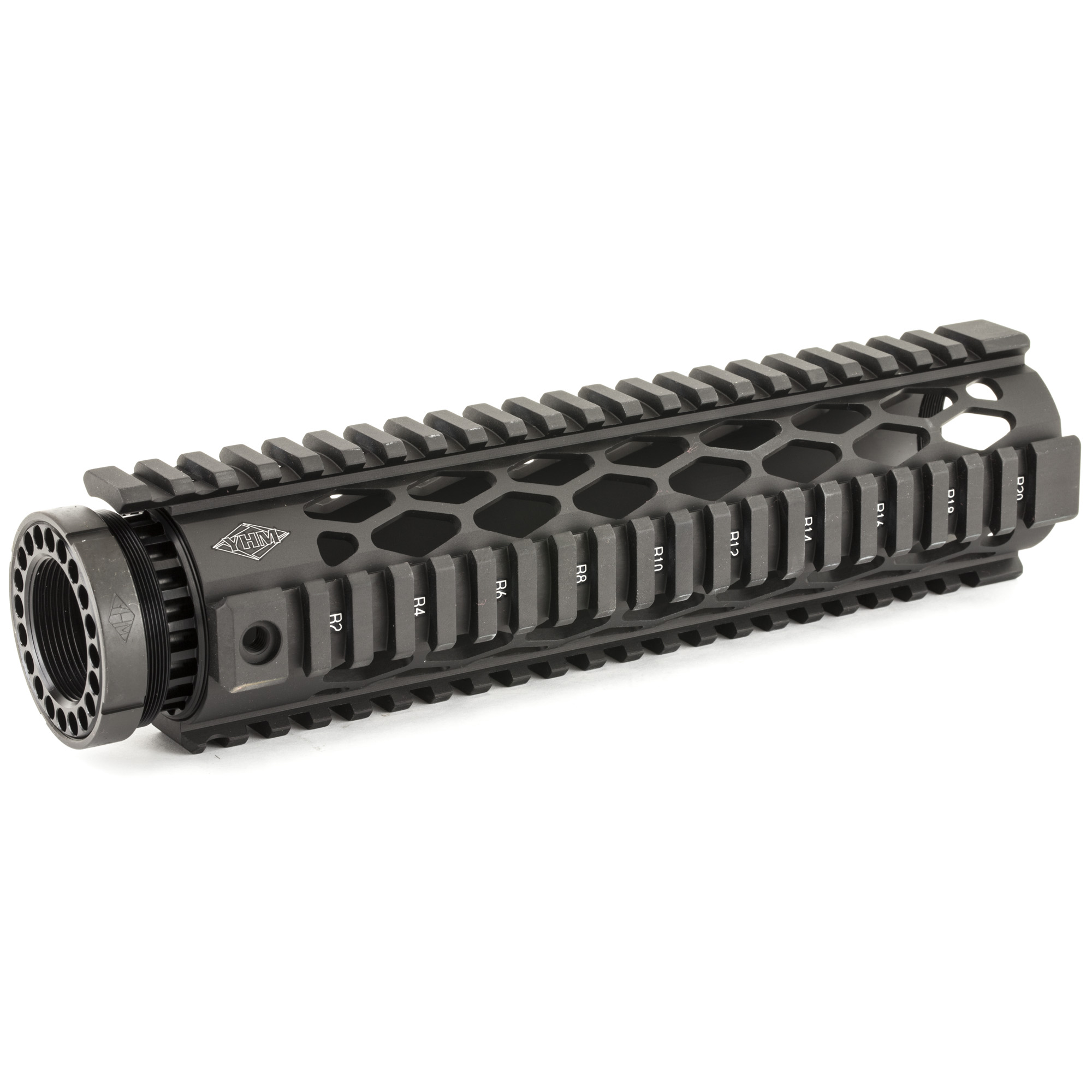 """These unique forearms feature diamond shaped heat vents"""" an extended top rail for gap-free installation"""" """"T"""" marked rails to mark accessory locations"""" they accept their end caps"""" and utilize their anti-rotation screws for secure installation. The forearms and barrel nuts are made of 6061-T6 aluminum and hardcoated to military specifications. The jam nut and anti-rotation screws are steel and plated a matte black finish to match."""