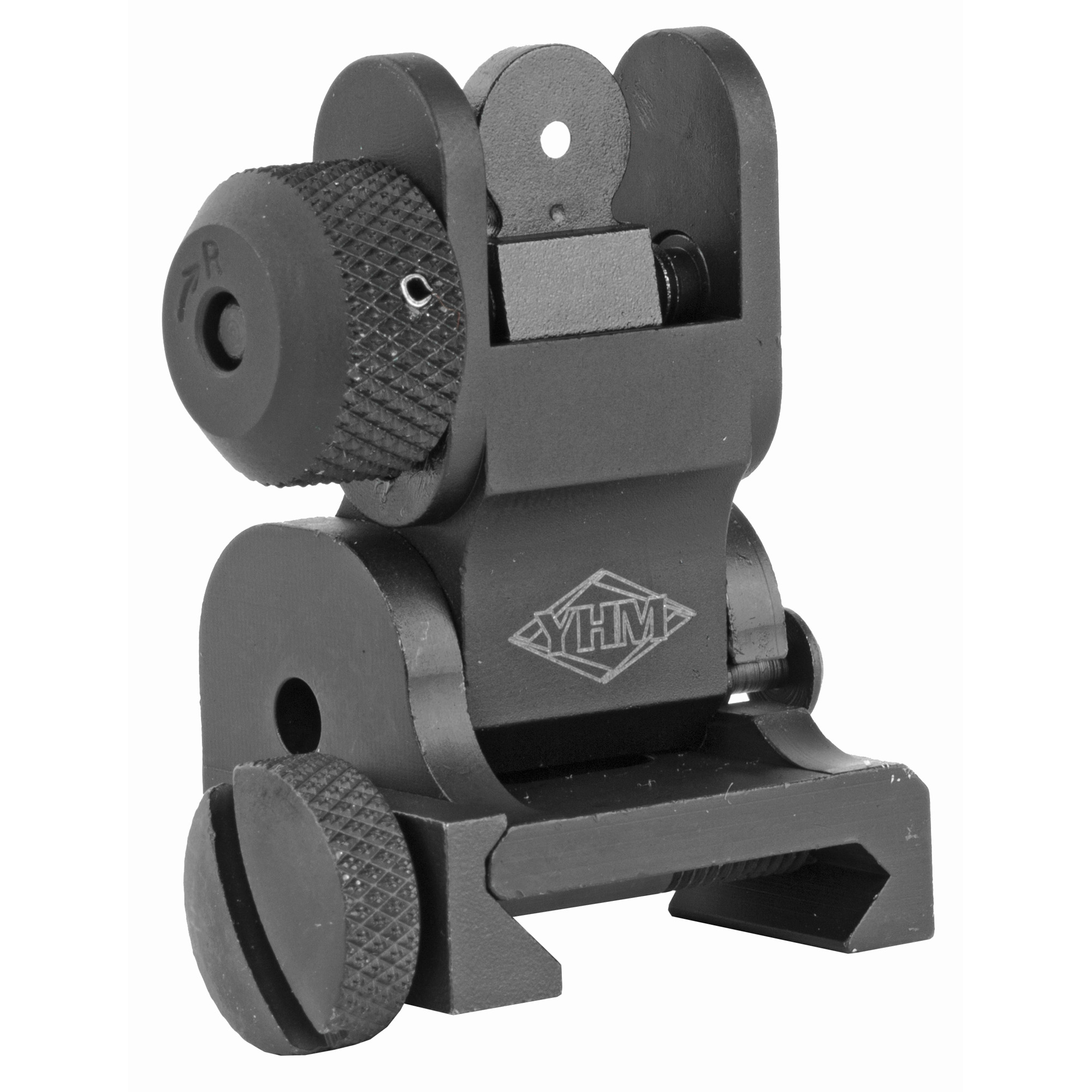 """AR-15 Flip Rear Sight- Features of this sight include: a rugged but lightweight design with a steel base"""" a quick release thumb screw"""" and aluminum stem. Locks in the deployed position with ease and takes up very little space on the upper receiver."""