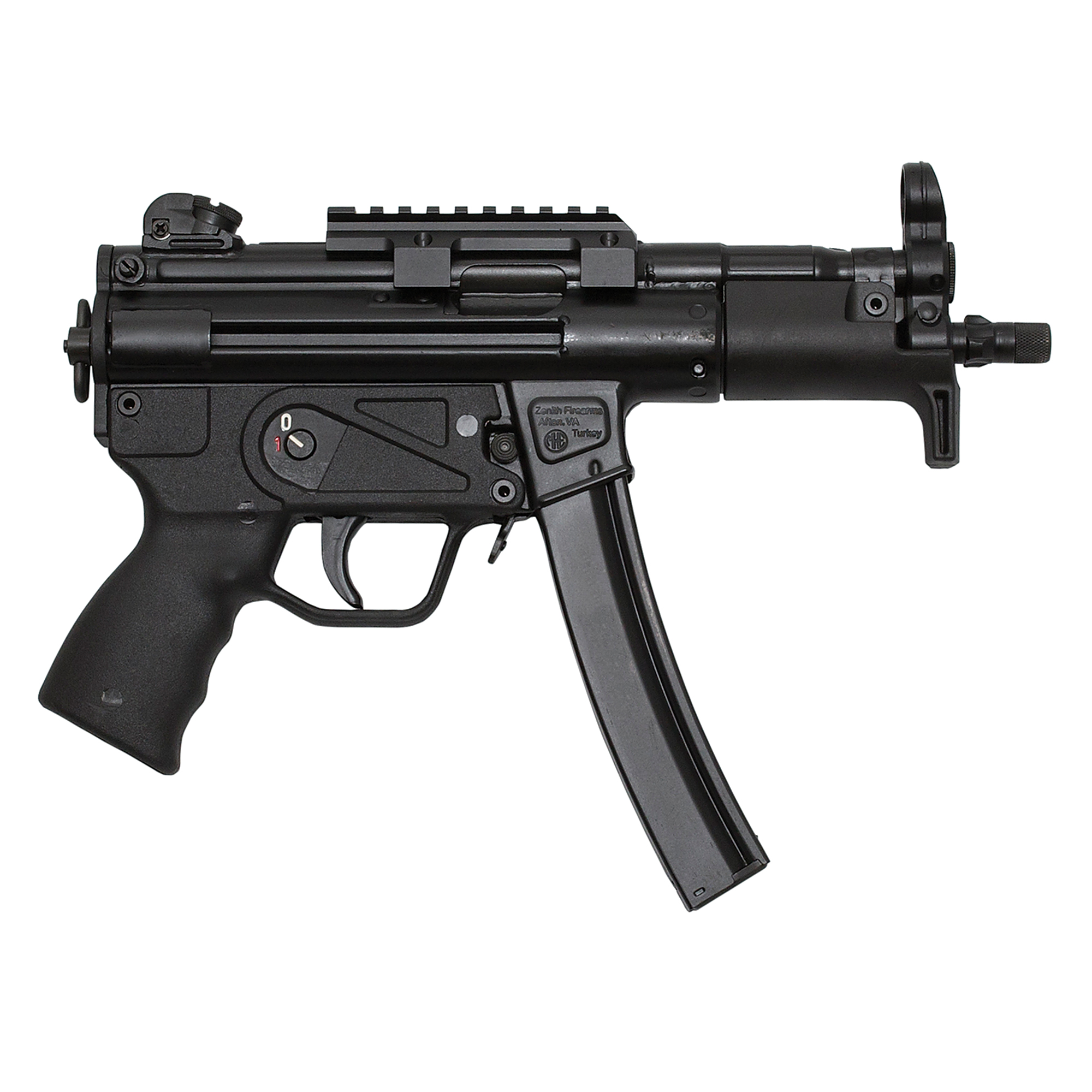 """Zenith's Z-5P is identical to its Z-5K save for a 1.2-inch barrel extension that accommodates 3-lug and threaded suppressor attachment points. When configured as a submachine gun it is typically outfitted with a sturdy folding stock"""" assuring comparable performance to its full-size counterpart while retaining a minimum length that makes it easy to conceal"""" stow"""" and deploy from confined spaces. It is covered by a five-year warranty"""" and ships in an MKE hard case with a handstop forearm"""" a Picatinny optic rail"""" three magazines"""" a military-style sling"""" two extra takedown pins"""" a cleaning kit"""" and a user manual."""