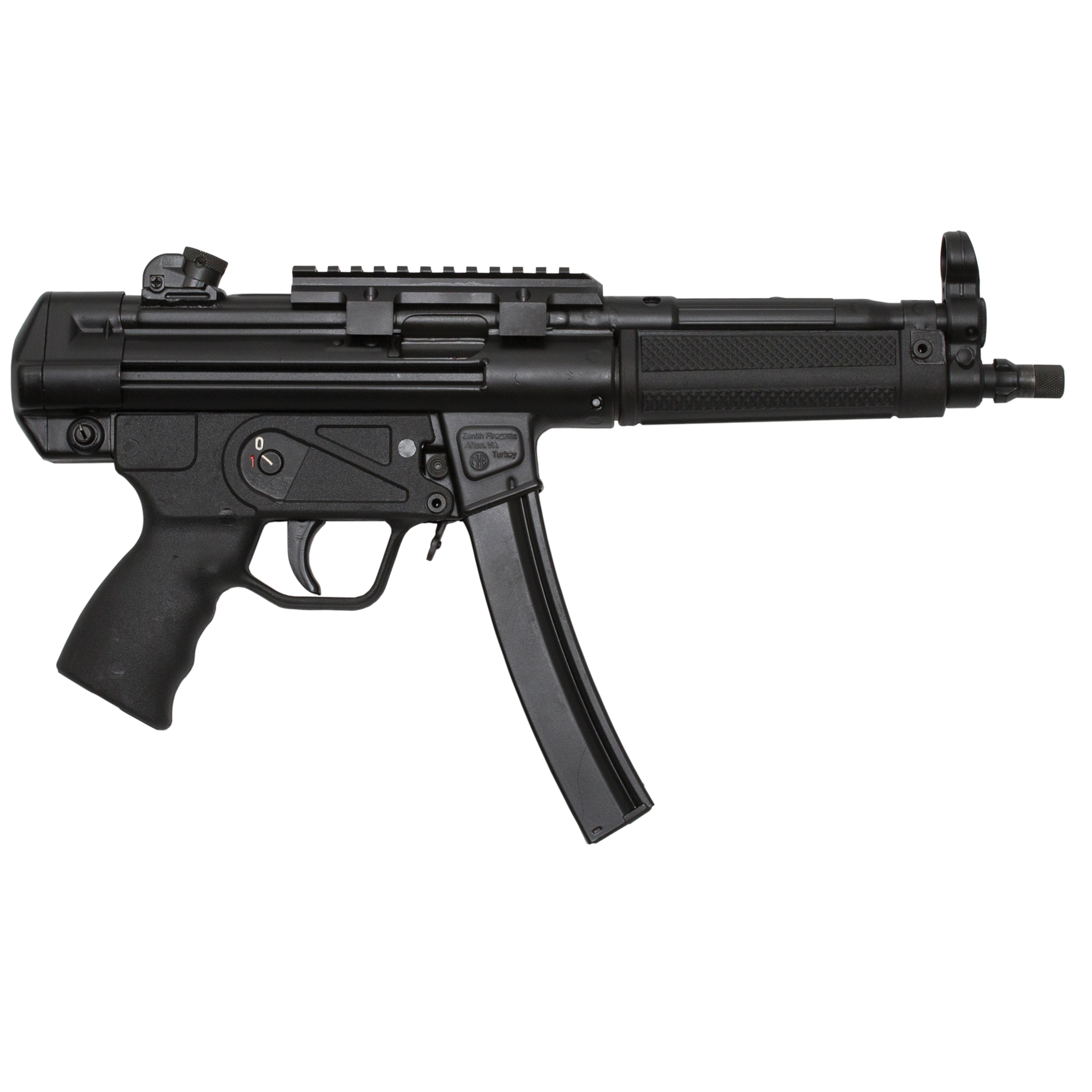 """Zenith's Z-5RS is a semi-automatic"""" pistol variant of one of the world's preeminent submachine guns. Inspired by the design and operating principle of the original manufacturer's famous battle rifle"""" this full-size close quarters weapon pairs the versatile 9mm cartridge with a performance maximizing barrel length"""" sight radius"""" and forearm. Produced in Turkey on original equipment"""" the Z-5RS is a perfect base for short-barreled-rifle and full-auto conversions"""" but also an effective pistol that affords iron-sight accuracy at distances exceeding 100 meters. It is covered by a five-year warranty"""" and ships in an MKE hard case with a slimline forearm"""" a Picatinny optic rail"""" three magazines"""" a military-style sling"""" two extra takedown pins"""" a cleaning kit"""" and a user manual."""