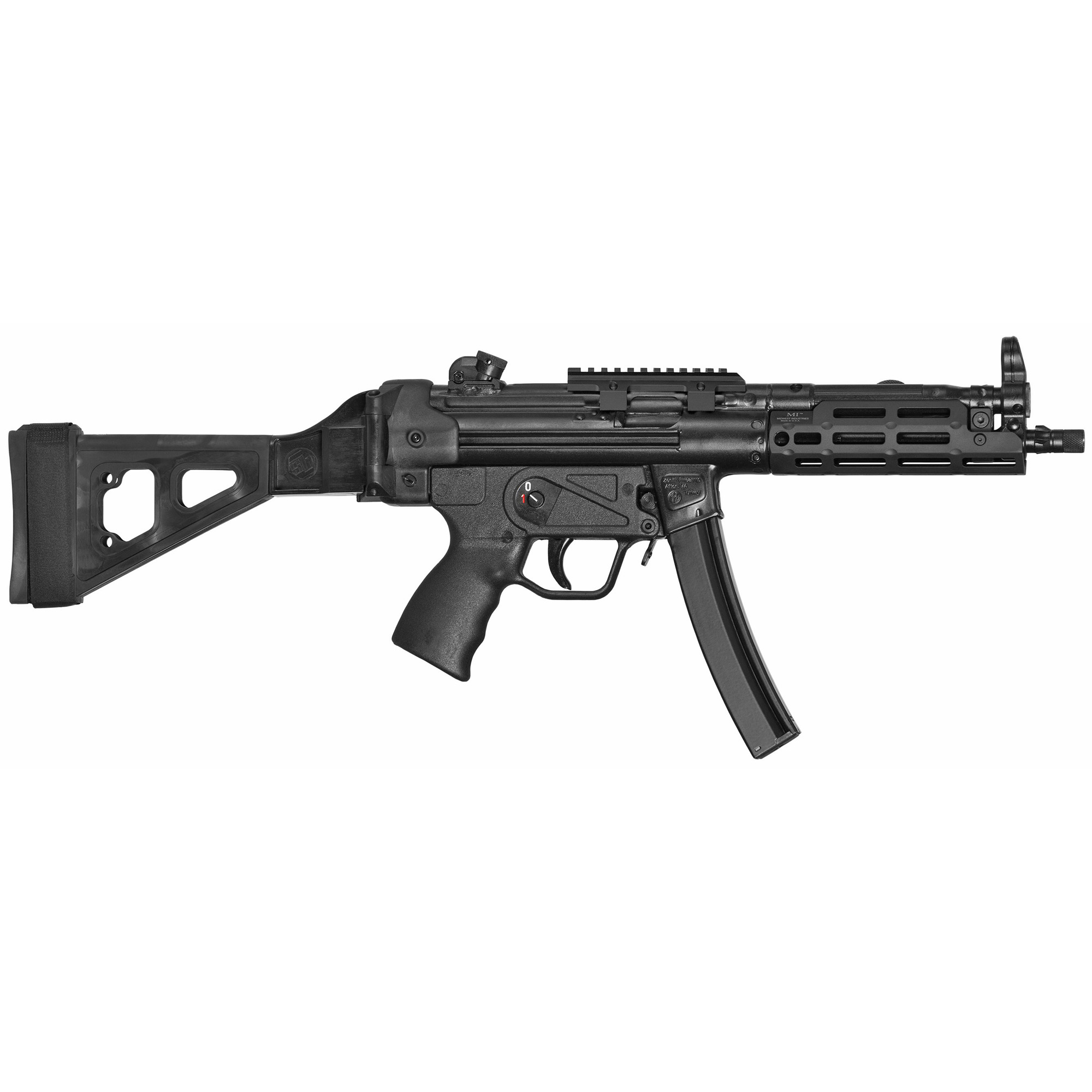 """The Z-5RS SB Rail is Zenith's Z-5RS outfitted with an M-LOK forearm and a folding pistol brace. It is covered by a five-year warranty"""" and ships in an MKE hard case with a receiver end cap"""" a Picatinny optic rail"""" three magazines"""" a military-style sling"""" two extra takedown pins"""" a cleaning kit"""" and a user manual."""