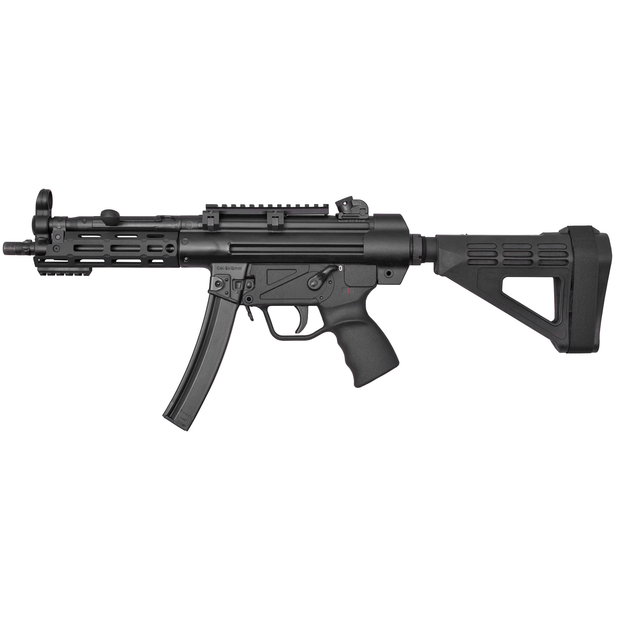 """The Z-5RS Pistolman is Zenith's Z-5RS outfitted with an M-LOK forearm and an AR-style fixed pistol brace. It is covered by a five-year warranty"""" and ships in an MKE hard case with a receiver end cap"""" a Picatinny optic rail"""" three magazines"""" a military-style sling"""" two extra takedown pins"""" a cleaning kit"""" and a user manual."""