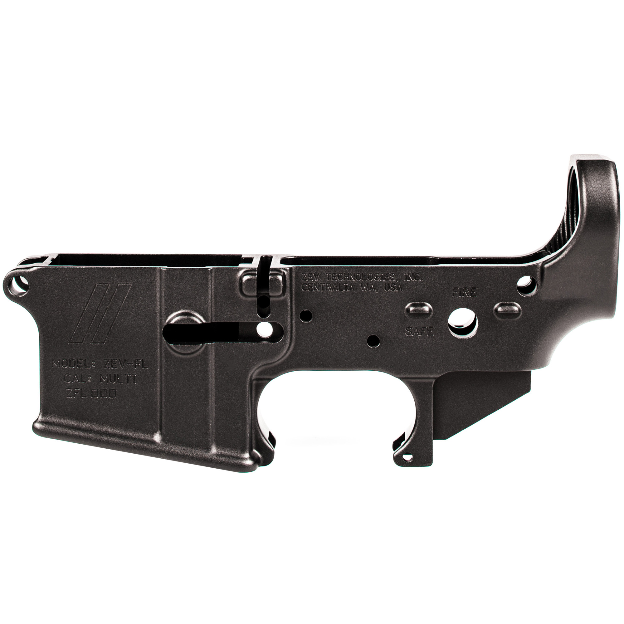 """The ZEV Technologies Forged AR-15 Lower Receiver comes stripped and ready for your next custom AR build. ZEV starts with high-quality 7075 T6 aluminum forgings and final machines them to better than mil-spec dimensions held to .001"""" tolerances"""" giving you maximum compatibility with mil-spec and aftermarket parts and accessories."""
