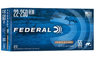 FED PWRSHK 22-250REM 55GR SP 20/200